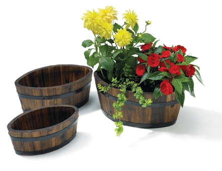 L30cm Small Pine Burnt Wood Boat Shaped Planter