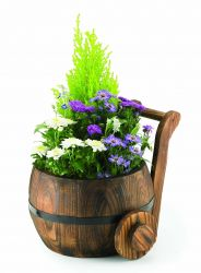 D18cm Pine Decorative Burnt Wood Churn Planter
