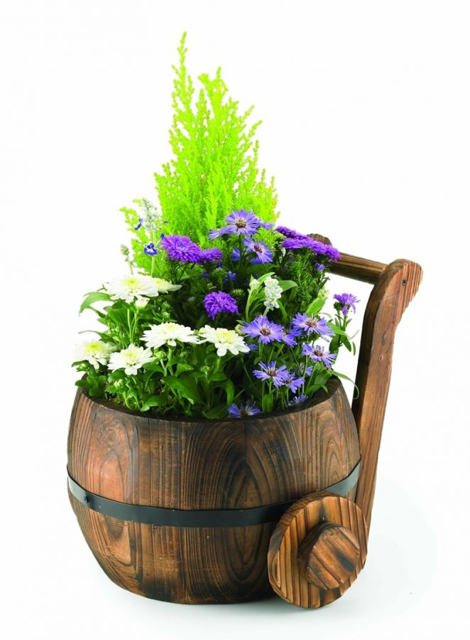 D18cm Pine Decorative Burnt Wood Churn Planter 163 16 99