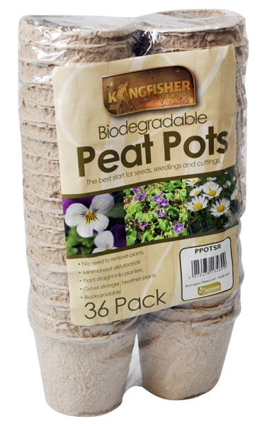 Pack of 36 Biodegradable Round Peat Planter Pots