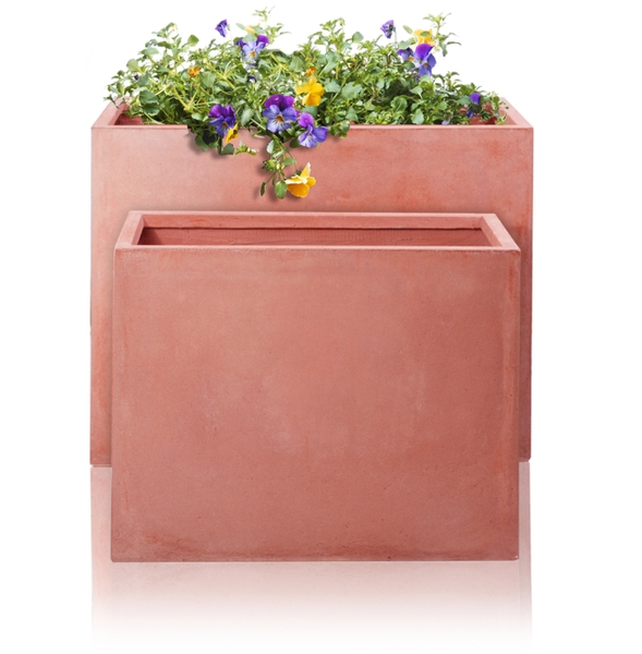 Tall Terracotta Fibrecotta Trough Planters - Mixed Set of 2 - L60/76cm