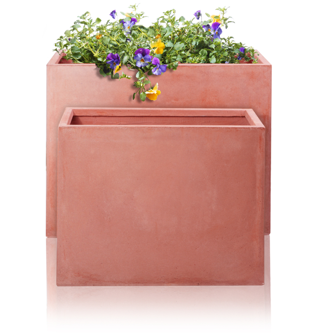 76cm Terracotta Fibrecotta Tall Trough Planters - Set of 2