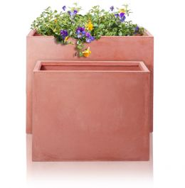 60cm Terracotta Fibrecotta Tall Trough Planters  - Set of 2