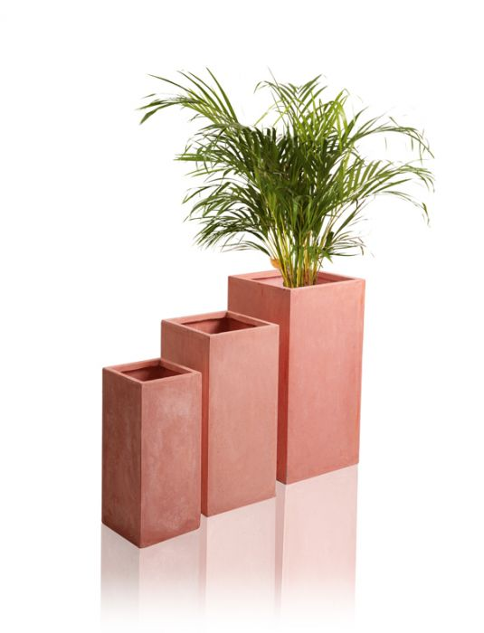50cm Terracotta Fibrecotta Tall Cube Planters - Set of 2
