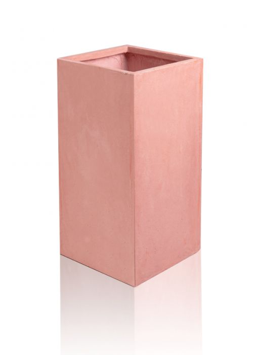 60cm Terracotta Fibrecotta Tall Cube Planters - Set of 2