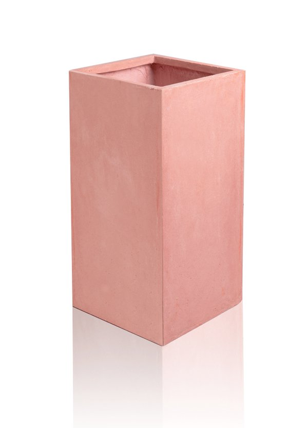 Tall Fibrecotta Terracotta Cube Planters - Set of 2 - H60cm x W27cm