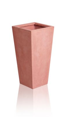 Tall Terracotta Fibrecotta Flared Square Planters – Mixed Set of 4
