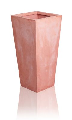 Tall Terracotta Fibrecotta Flared Square Planters – Set of 2 -  H39cm x W19cm