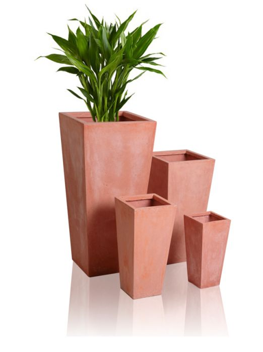 39cm Terracotta Fibrecotta Tall Flared Square Planters – Set of 2