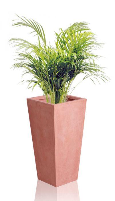 39cm Terracotta Fibrecotta Tall Flared Square Planter