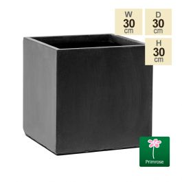 30cm Terracotta Fibrecotta Dark Grey Cube Planter