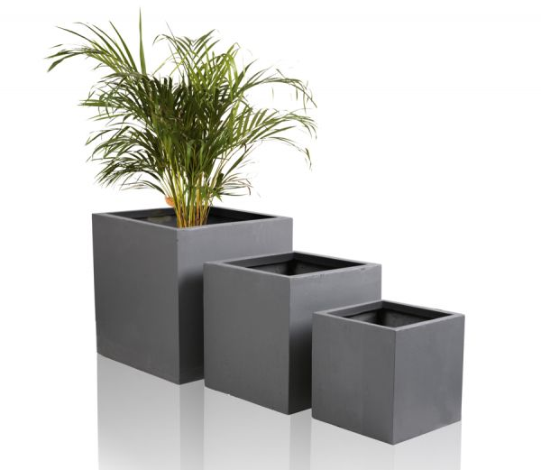 Dark Grey Fibrecotta Cube Planters – Mixed Set of 3 - H30/40/50cm
