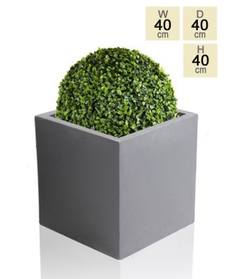 40cm Terracotta Fibrecotta Dark Grey Cube Planter