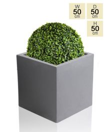 50cm Terracotta Fibrecotta Dark Grey Cube Planter