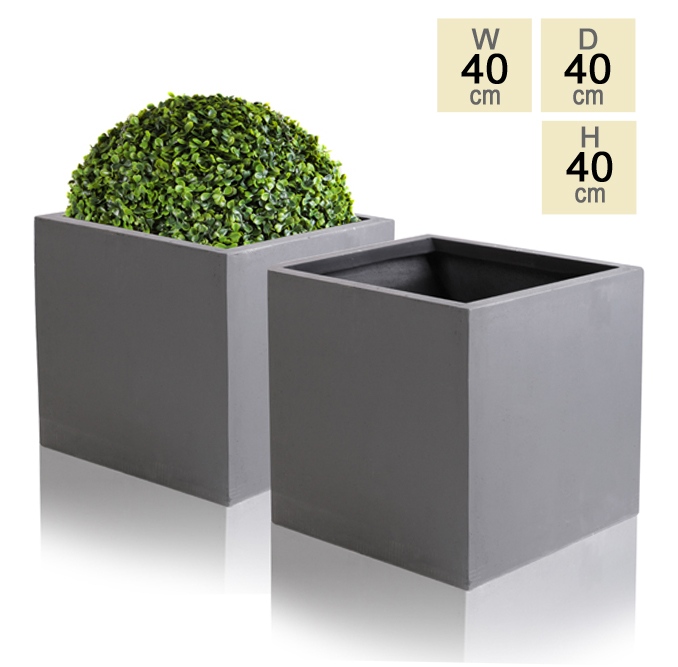 40cm Terracotta Fibrecotta Dark Grey Cube Planters – Set of 2