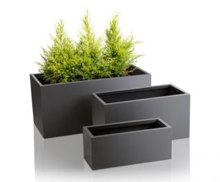 Dark Grey Fibrecotta Trough Planters – Mixed Set of 3 - L50/59/80cm