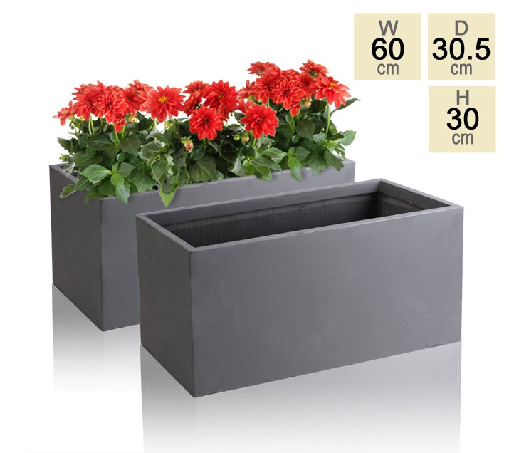 60cm Terracotta Fibrecotta Dark Grey Trough Planters – Set of 2