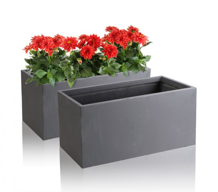60cm Terracotta Fibrecotta Dark Grey Trough Planter