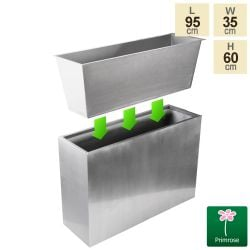 L95cm Silver Zinc Tall Trough Planter with Insert - By Primrose™