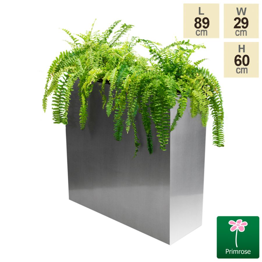 L89cm Silver Zinc Tall Trough Planter - By Primrose™