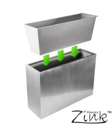 L89cm Silver Zinc Tall Trough Planter - By Primrose®