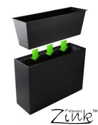 L89cm Black Zinc Tall Trough Planter with Insert - By Primrose®