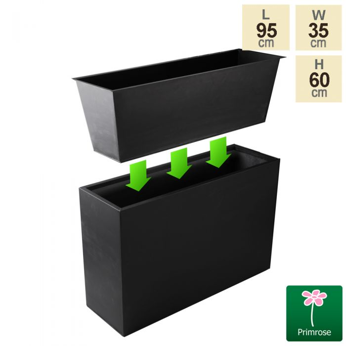 L95cm Zinc Tall Trough Planter with Insert - By Primrose™