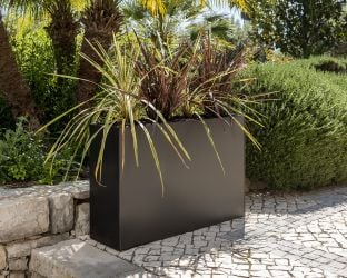 L89cm Black Zinc Tall Trough Planter with Insert - By Primrose™