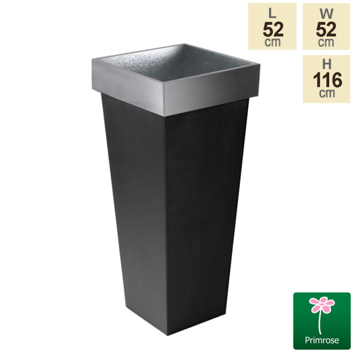 H1.16m Zinc Tall Flared Square Planter - By Primrose™