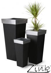 H89cm Zinc Tall Flared Square Planter  - By Primrose®