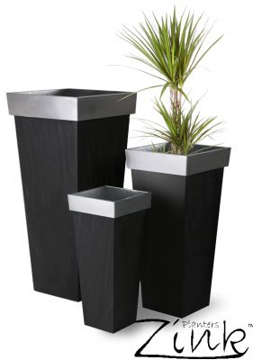 H89cm Zinc Tall Flared Square Planter  - By Zink™