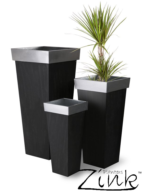 H1.16m Zinc Tall Flared Square Planter - By Primrose®