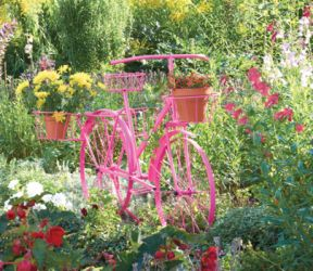 Pink Large Bicycle Plant Stand - H1.19m x L84cm