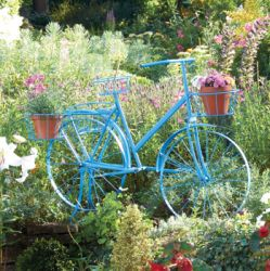 Blue Large Bicycle Plant Stand - H1.19m x L84cm