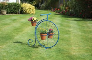 Blue Penny Farthing Plant Stand - H78cm x L70cm