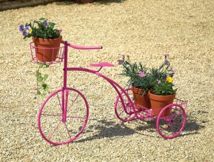 Pink Tricycle Plant Stand - H77cm x L53cm