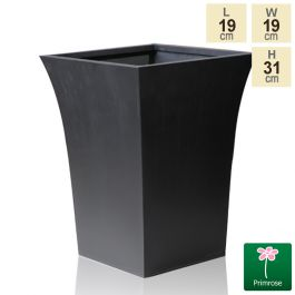 H31cm Black Square Flared Planter - By Primrose™