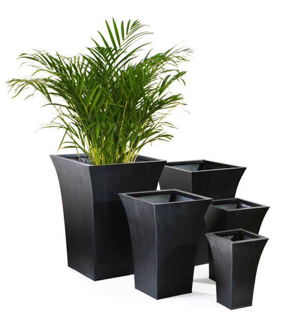 H38cm Black Square Flared Planter - By Zink�