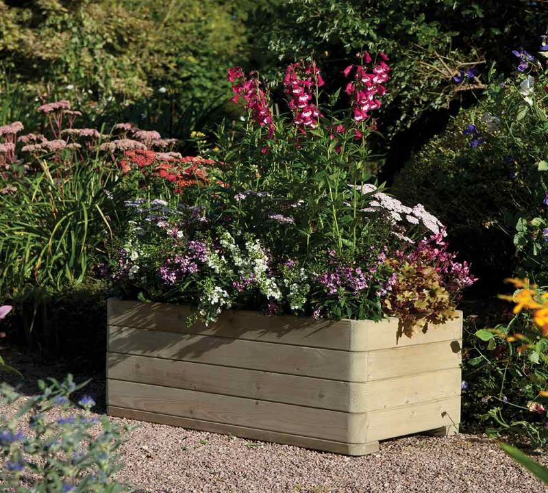 1m Wooden Rectangular Marberry Planter - by Rowlinson