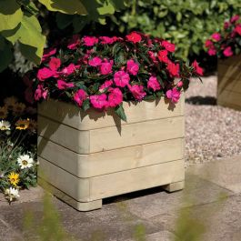50cm Wooden Marberry Square Planter - by Rowlinson