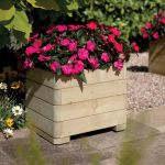 50cm Wooden Marberry Square Planter by Rowlinson