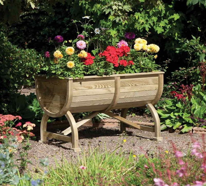 Rowlinson Marberry Barrel Wooden Planter