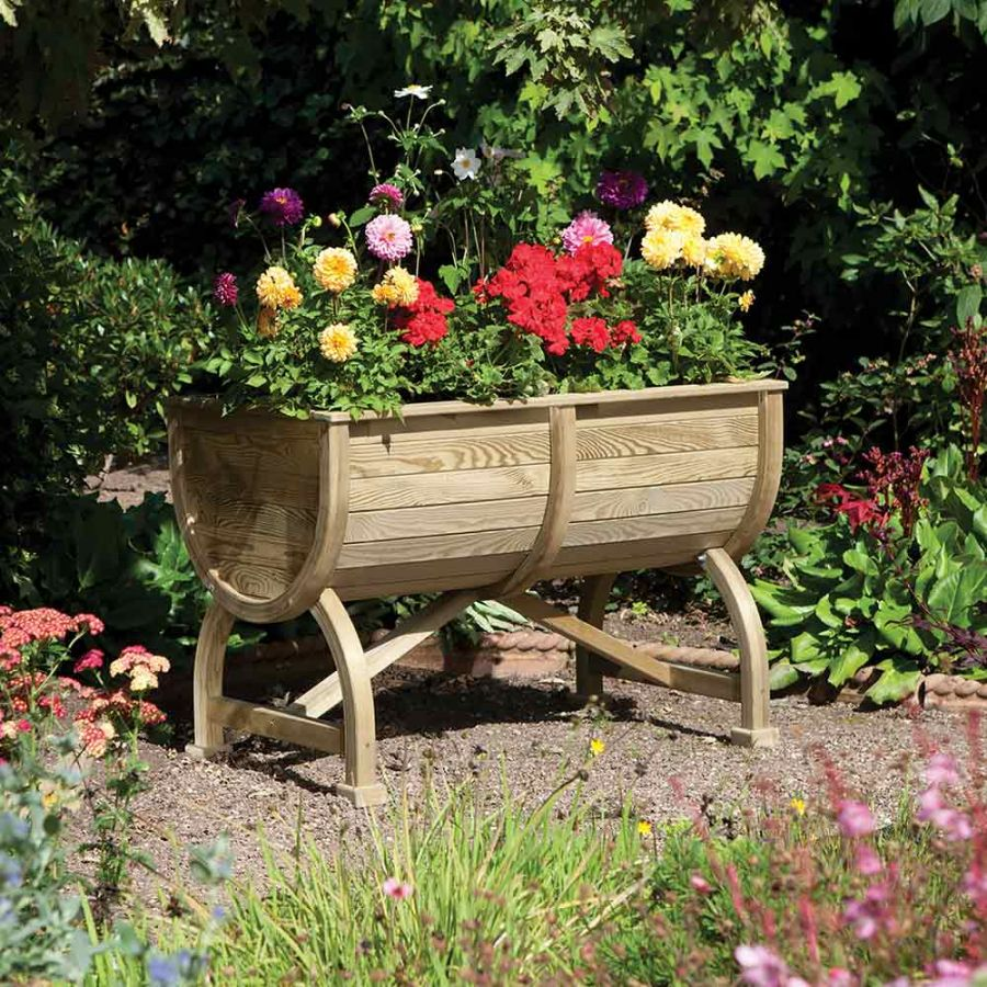 W1.07m (3ft 6in) Wooden Marberry Barrel Planter FSC® by Rowlinson®
