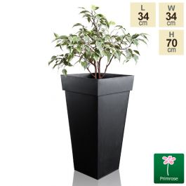 H70cm Black Zinc Tall Flared Square Planter - By Primrose™