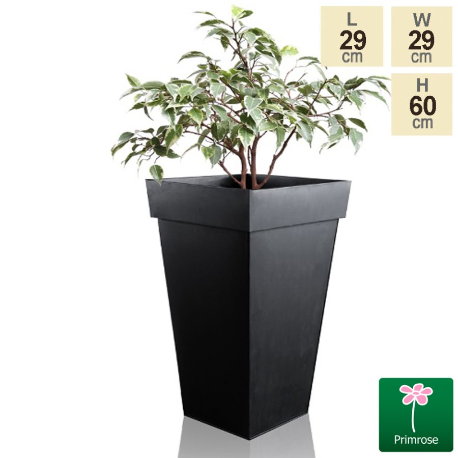 H60cm Black Zinc Tall Flared Square Planter - By Primrose™
