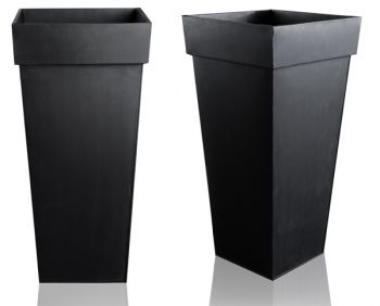 H60cm Black Zinc Tall Flared Square Planter - By Primrose®