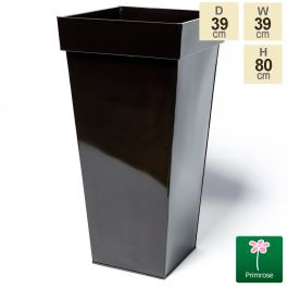 H80cm Mocha Brown Zinc Tall Flared Square Planter - By Primrose™
