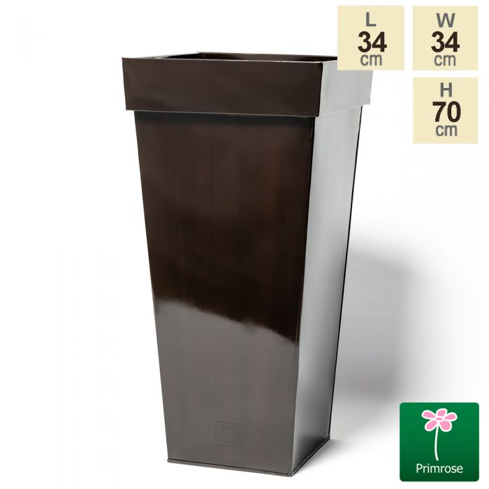 H70cm Mocha Brown Zinc Tall Flared Square Planter - By Primrose™