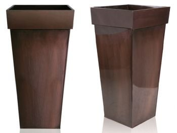 H80cm Bronze Zinc Tall Flared Square Planter - By Zink�