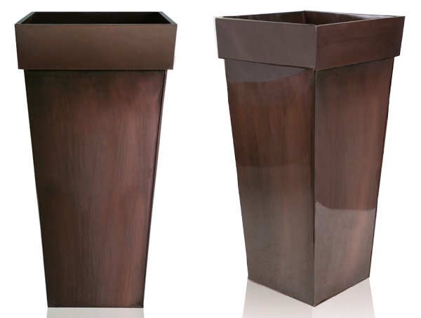 H80cm Bronze Zinc Tall Flared Square Planter - By Primrose®